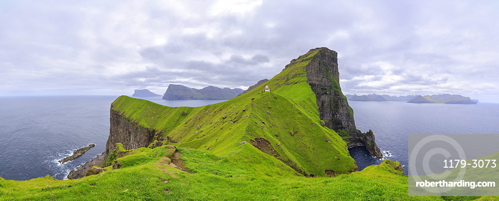 Panoramic of Kallur Lighthouse on cliffs, Kalsoy Island, Faroe Islands, Denmark, Europe