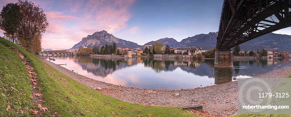 Panoramic of River Adda with Lecco in background, Lombardy, Italy, Europe