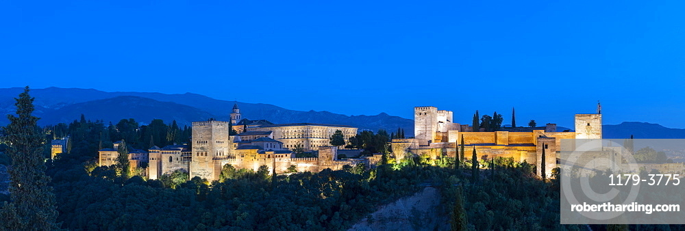 Panorama of Alhambra palace at sunset in Granada, Spain, Europe