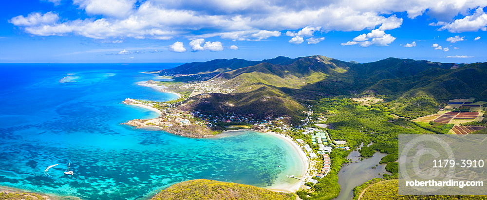 Aerial panoramic by drone of Carlisle Bay Beach and Old Road Village, Antigua, Antigua and Barbuda, Leeward Islands, West Indies, Caribbean, Central America