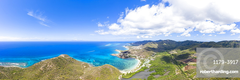 Aerial panoramic by drone of Carlisle Bay Beach, Old Road Village and Pinefield Plantation, Antigua, Leeward Islands, West Indies, Caribbean, Central America