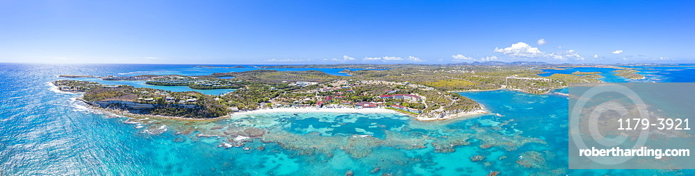 Aerial panoramic of the coral reef around Long Bay, Antigua, Antigua and Barbuda, Caribbean, West Indies, Leeward Islands (drone