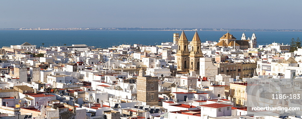 Rooftops and St. Anthony of Padua seen from the Tavira Tower Cadiz, Andalusia, Spain, Europe