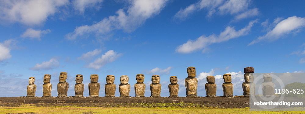 Moai heads of Easter island, Rapa Nui National Park, Easter Island, Chile, Polynesia