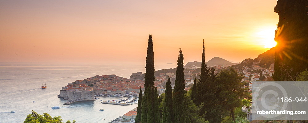 Sunset over the old town Dubrovnik, Croatia