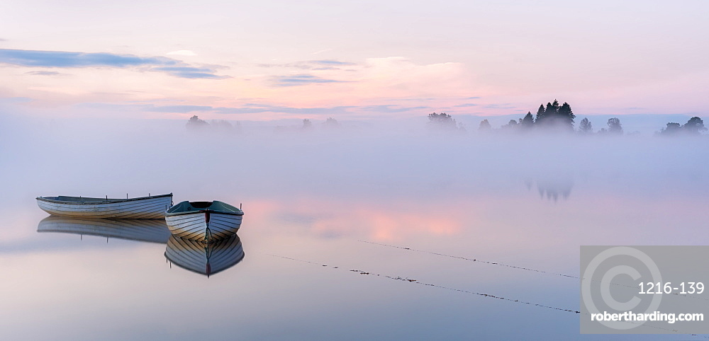 Two boats at Loch Rusky, Highlands, Scotland, United Kingdom, Europe