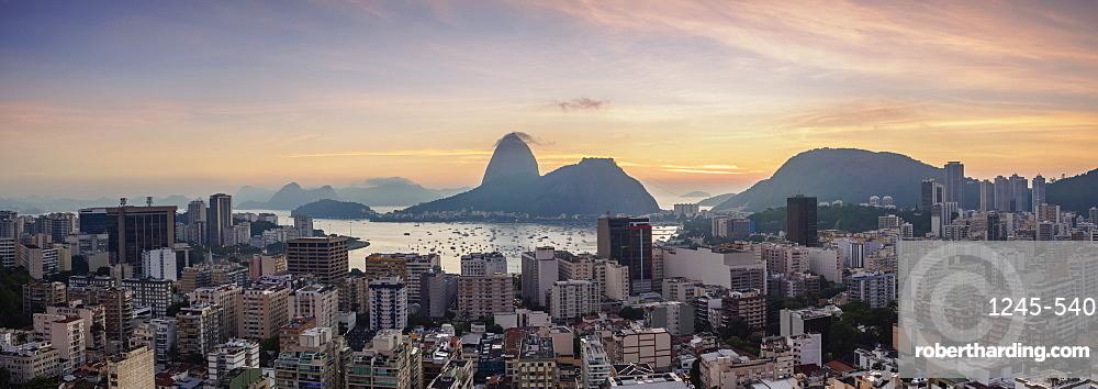 View over Botafogo towards the Sugarloaf Mountain at dawn, Rio de Janeiro, Brazil, South America