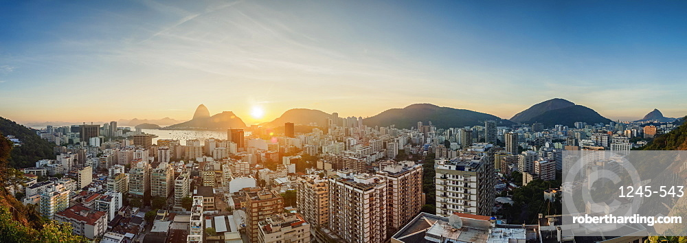 View over Botafogo towards the Sugarloaf Mountain at sunrise, Rio de Janeiro, Brazil, South America