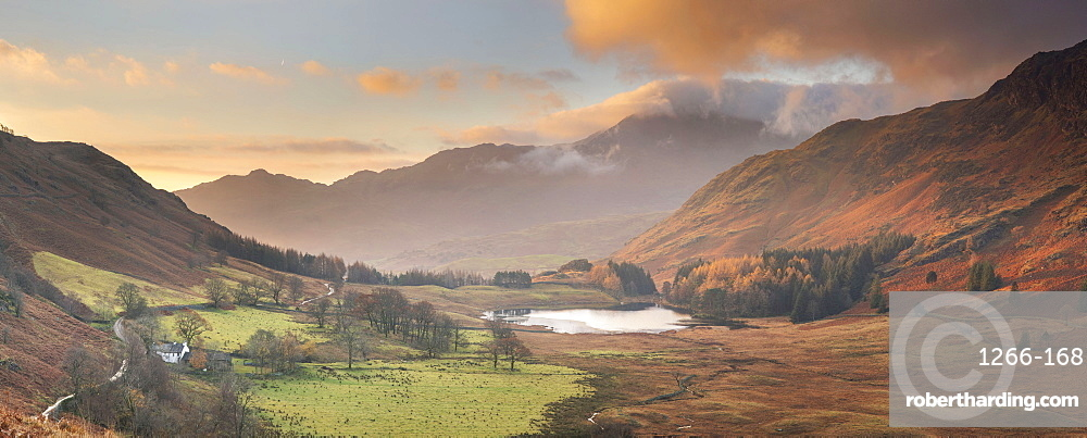 Panoramic Image of view to Blea Tarn in autumn from Side Pike, Langdale Pikes, English Lake District, Cumbria