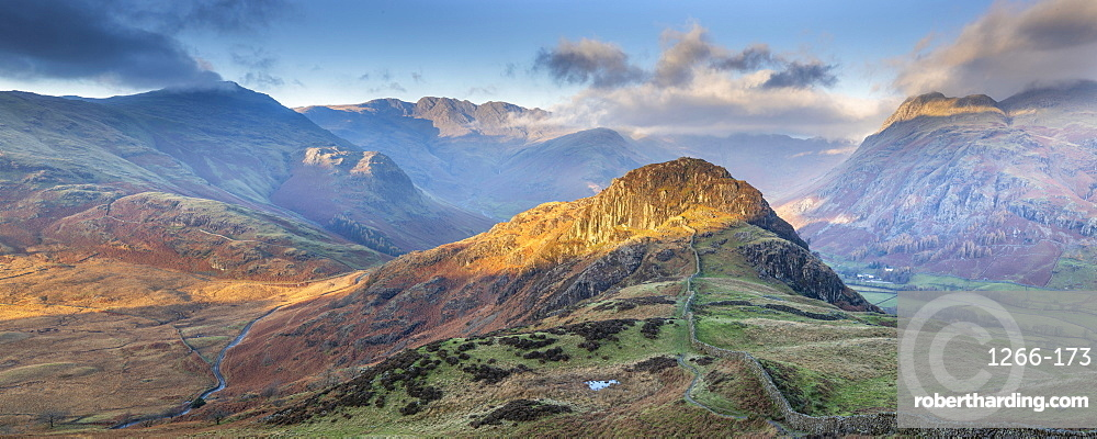 Panoramic image taking in the Langdale Pikes with Side Pike in the foreground, English Lake District, Cumbria