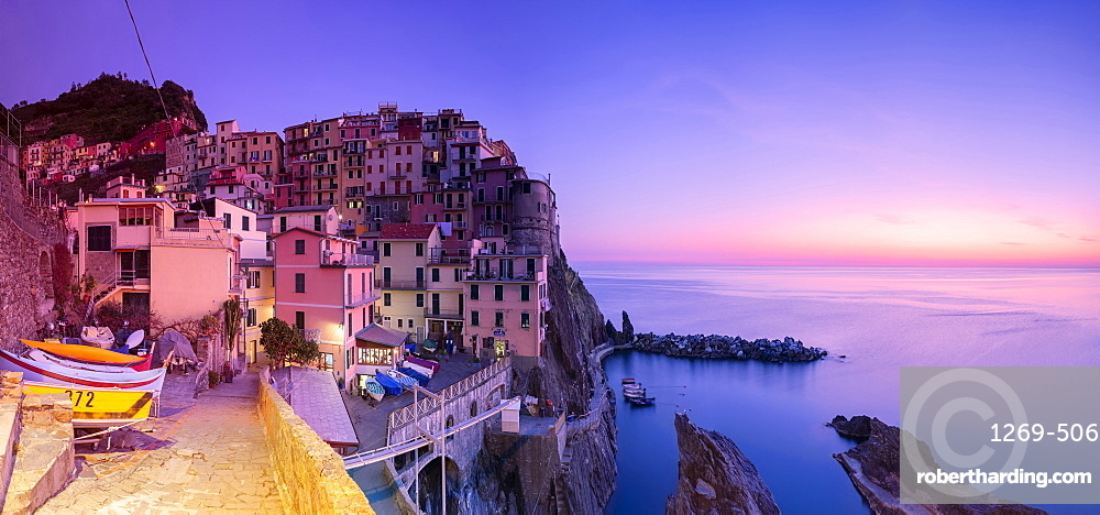 Panoramic view of the sunset at the village of Manarola, Cinque Terre, UNESCO World Heritage Site, Liguria, Italy, Europe