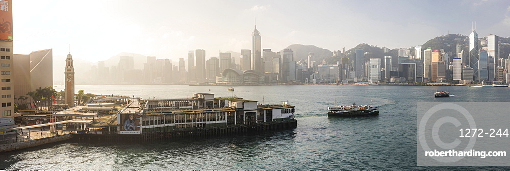 Star Ferry with Hong Kong Island behind, seen from Kowloon, Hong Kong, China, Asia