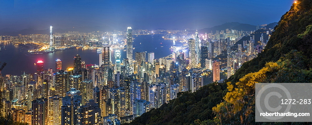 View over Hong Kong Island, Victoria Harbour and Kowloon at night, seen from Victoria Peak, Hong Kong, China, Asia