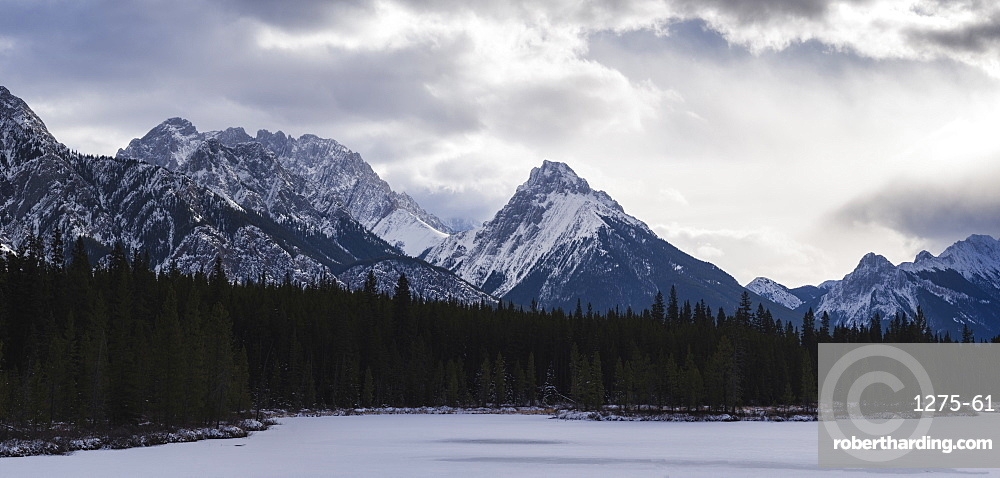 Panoramic winter landscape of the Canadian Rocky Mountains at the Lower Kananaskis Lake, Alberta, Canada