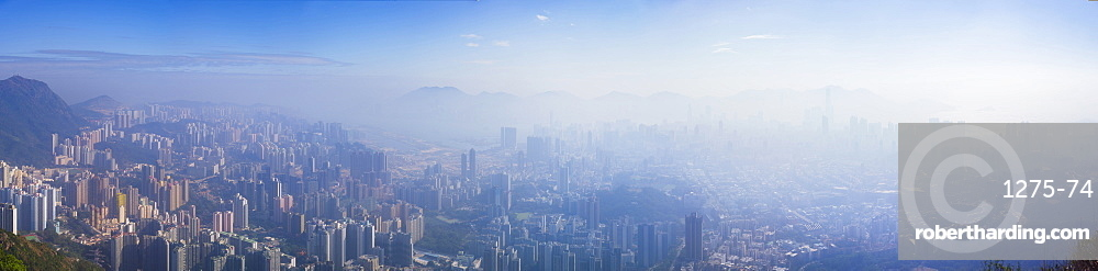 Panoramic view of Kowloon and Hong Kong city from the Lion Rock mountain peak, Hong Kong, China, Asia