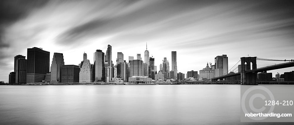 Lower Manhattan skyline and Brooklyn Bridge, New York City, New York, United States of America