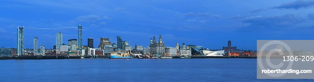 A panoramic view of The Liverpool Waterfront, Liverpool, Merseyside, England, United Kingdom, Europe