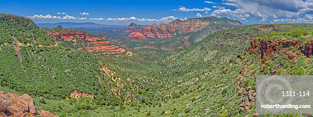Panorama view of Sedona from the Schnebly Hill Vista at midday, Arizona, United States of America, North America