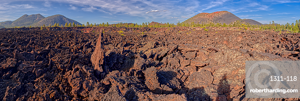 Panorama view of O'Leary Peak on the left and Sunset Crater on the right from the Bonito Lava Field near Flagstaff AZ.
