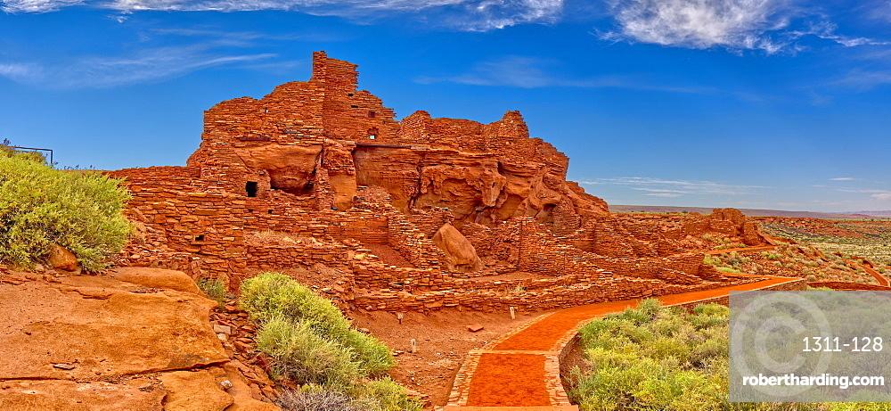 Closeup panorama of the Wupatki Pueblo Ruins at the Wupatki National Monument, Arizona, United States of America, North America
