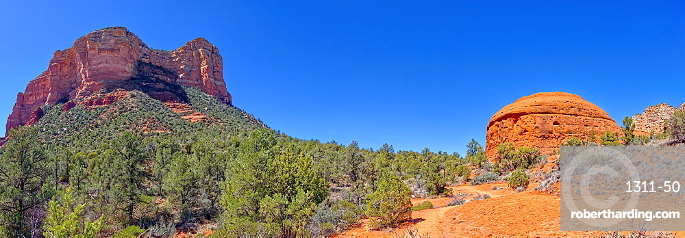Panorama South view of Courthouse Butte and the Judges Bench from Courthouse Butte Loop Trail in Sedona AZ.