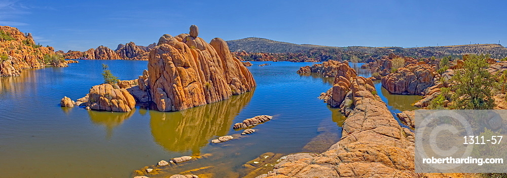 Panorama of Rock islands in Watson Lake viewed from the North Shore Trail. Located in Prescott AZ.