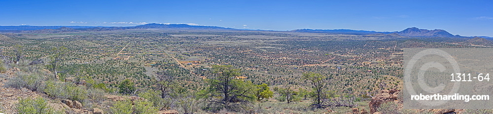 A super panorama of Chino Valley AZ viewed from the summit of Sullivan Butte. Composed of 11 photos.