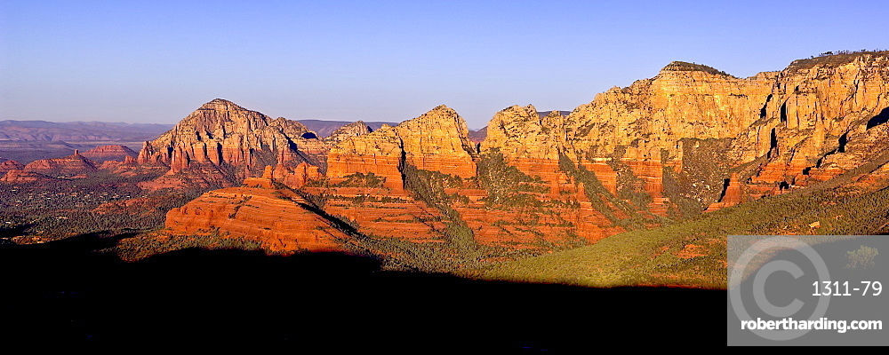 Early morning view of Sedona from Schnebly Hill Vista. Capitol Butte is on the left and Wilson Mountain on the right.