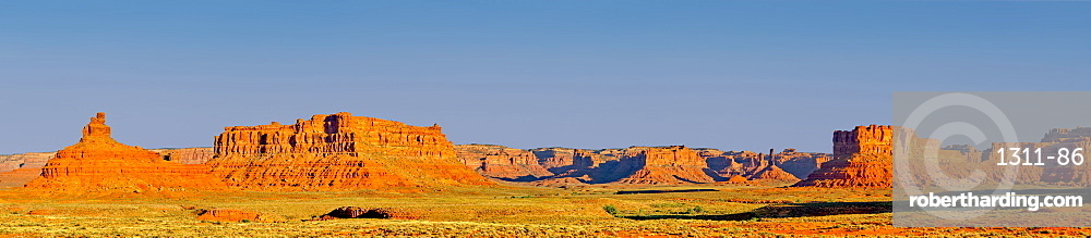 Super panorama of Valley of the Gods in Utah near the town of Mexican Hat. Composed from 4 photos stitched together.