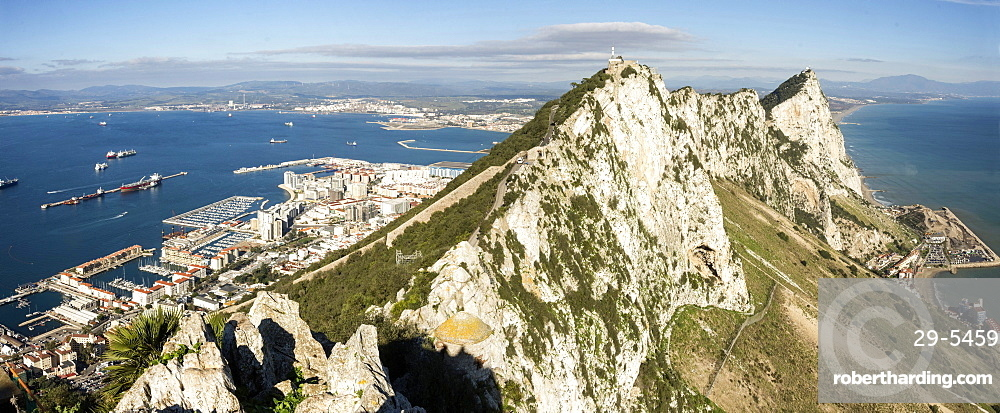 Gibraltar; looking north from O'Hara's Battery along the crest of the Rock