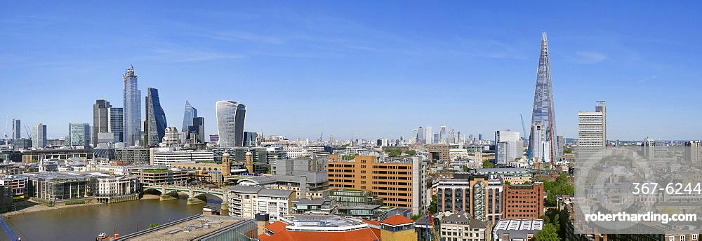 City of London panorama and The Shard, London, England, United Kingdom, Europe