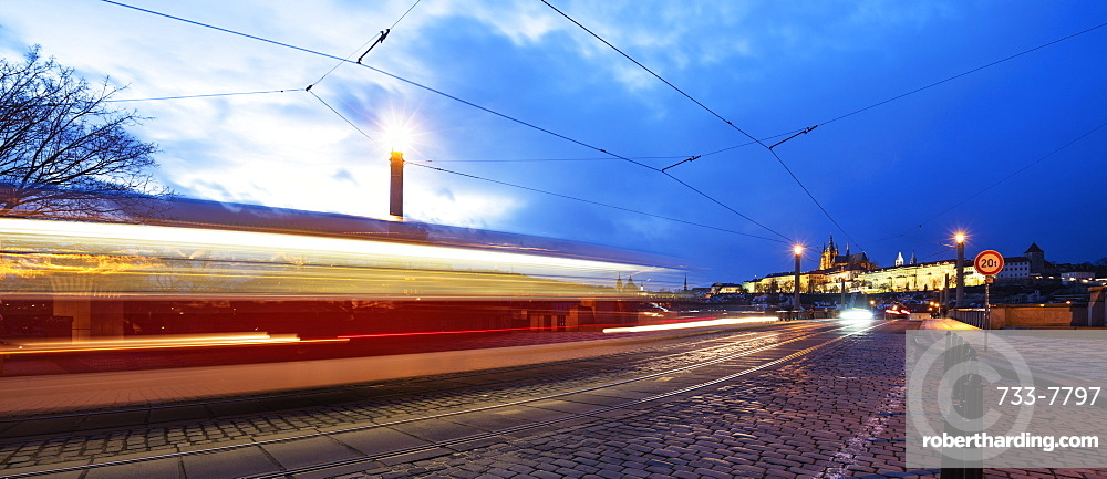 Europe, Czech Republic, Prague, Prague Castle, tram lights