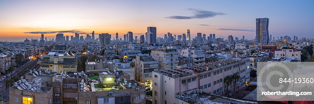 View of Tel Aviv skyline at sunrise, Tel Aviv, Israel, Middle East