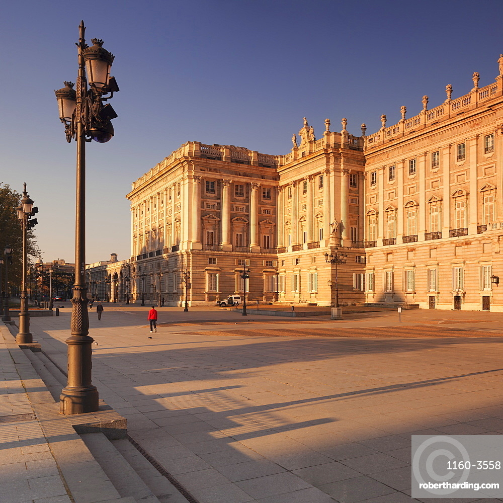 Royal Palace (Palacio Real) at sunrise, Madrid, Spain, Europe