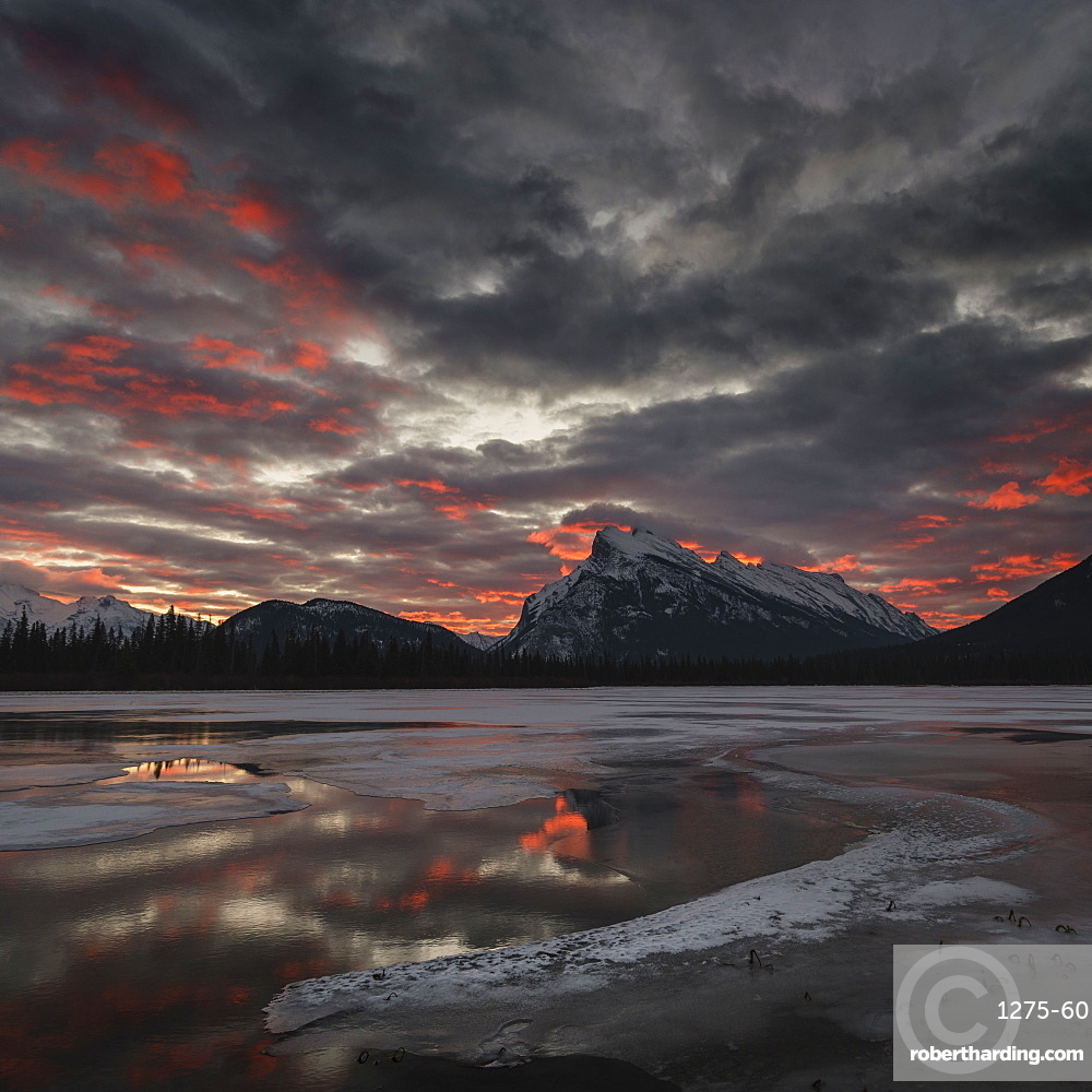 Morning glow - winter landscape of Vermilion Lakes, Banff National Park, Alberta, Canada