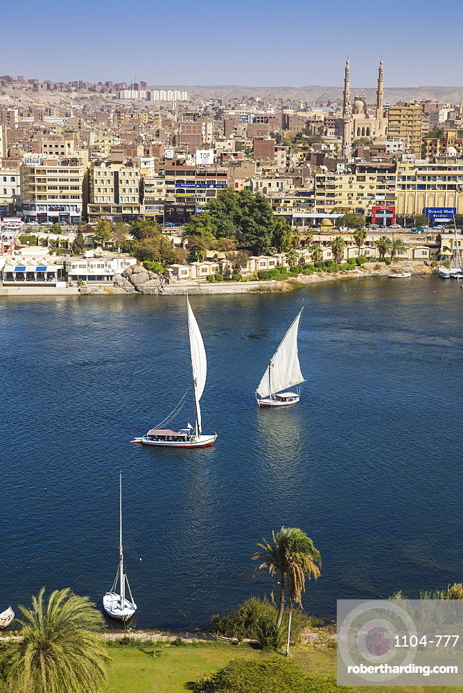 Egypt, Upper Egypt, Aswan, View of Aswan and River Nile