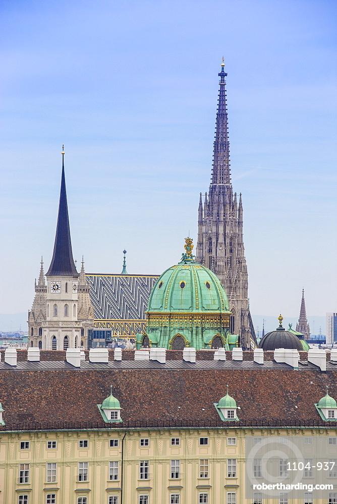 View of city skyline, Vienna, Austria, Europe