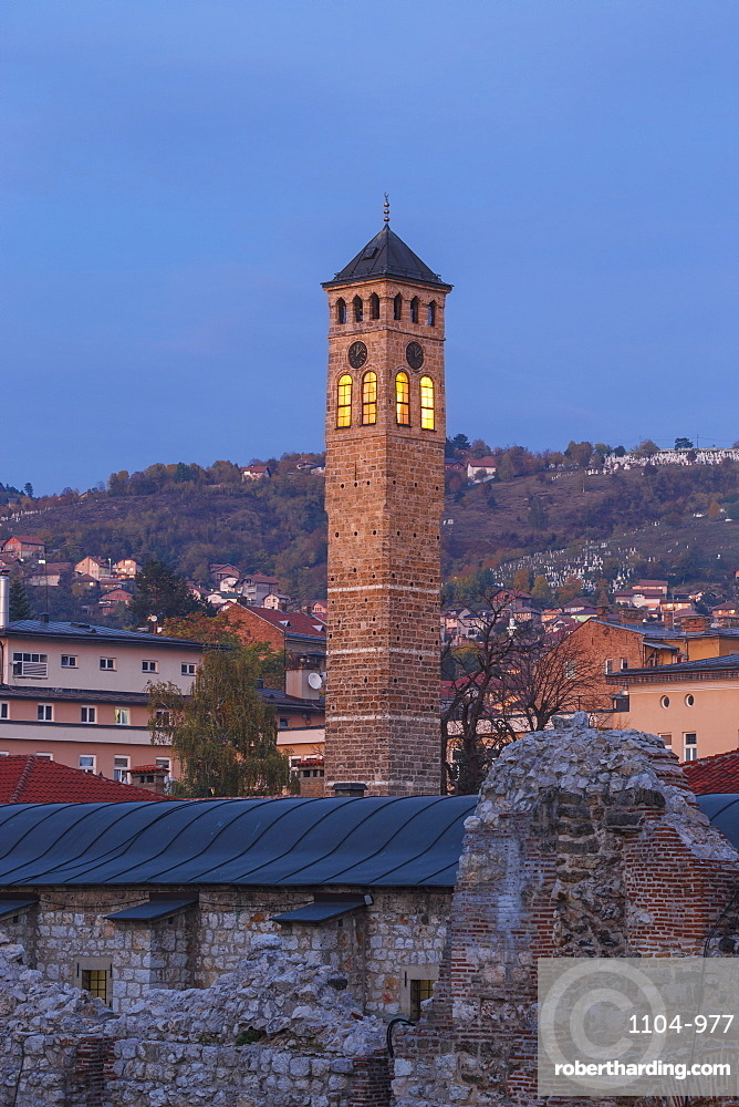 Bosnia and Herzegovina, Sarajevo, Bascarsija - The Old Quarter, Taslihan - An ancient caravanserai and Clock tower