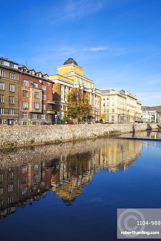 Buildings of Bascarsija (The Old Quarter), on the banks of the Miljacka River, Sarajevo, Bosnia and Herzegovina, Europe