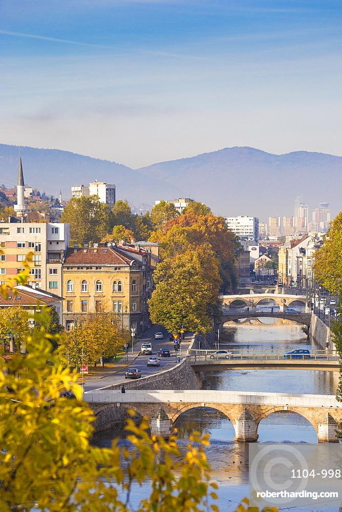 Bosnia and Herzegovina, Sarajevo, View of city and Miljacka River