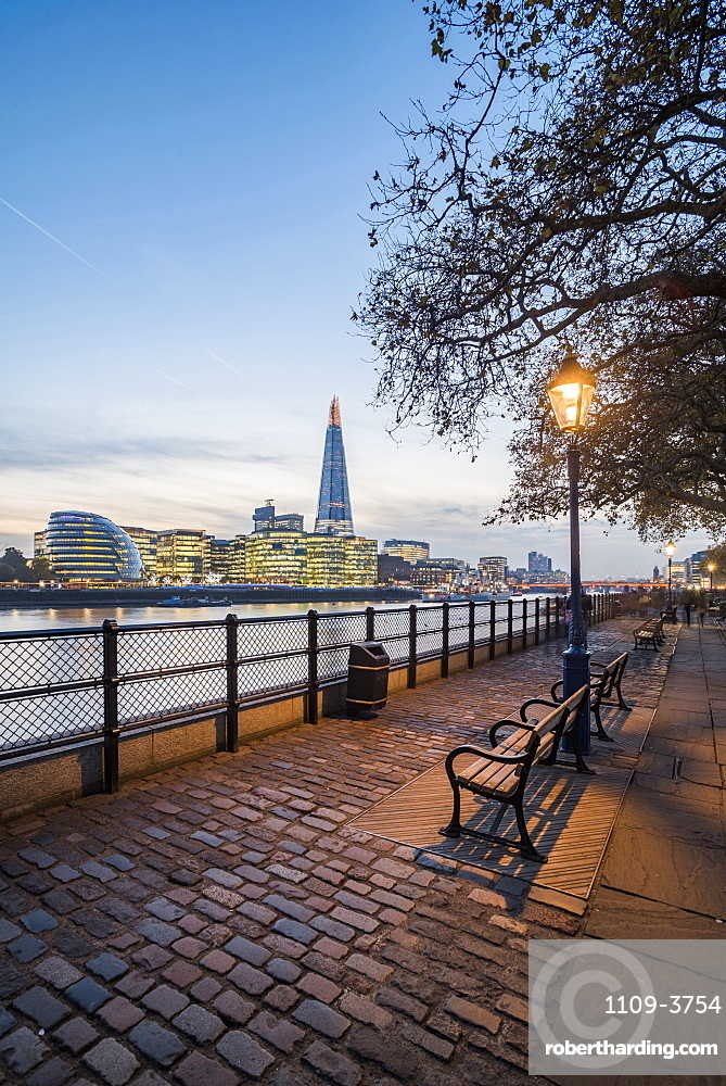 The Shard and River Thames at night, London, England, United Kingdom, Europe