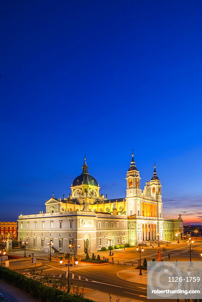 Exterior of Almudena Cathedral at dusk, Madrid, Spain, Europe