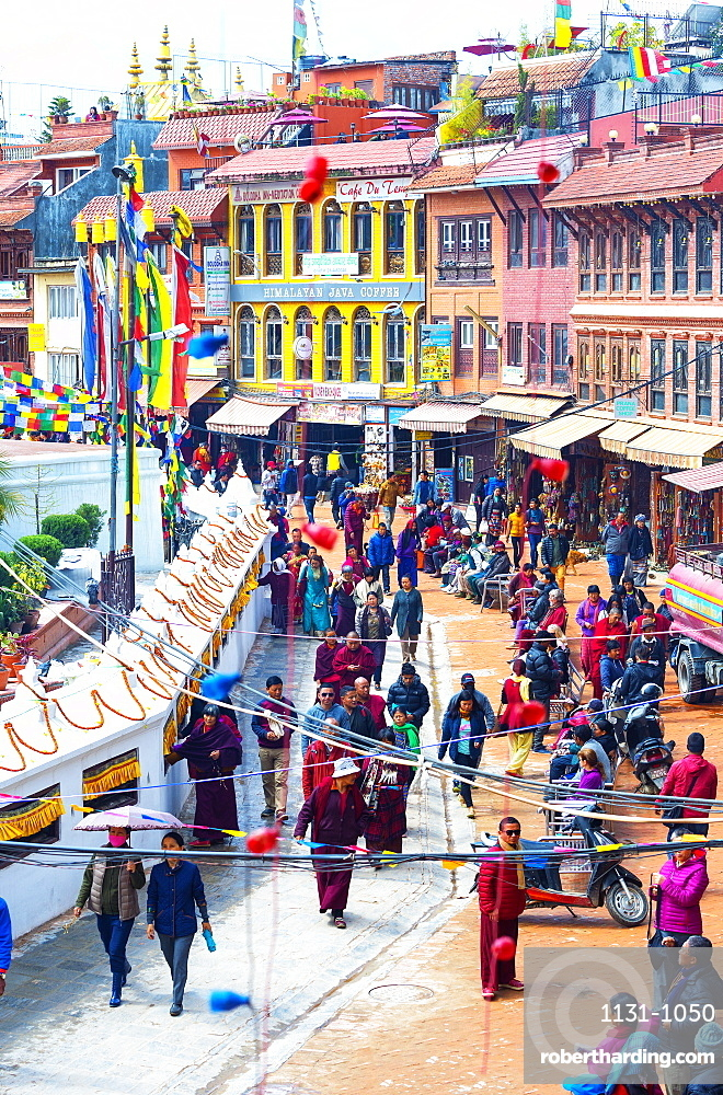 Buddhist pilgrims making the kora, Boudhanath Stupa, largest Asian Stupa, UNESCO World Heritage Site, Kathmandu, Nepal, Asia