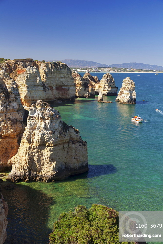 Rocky coast at Ponta da Piedade Cape, near Lagos, Algarve, Portugal