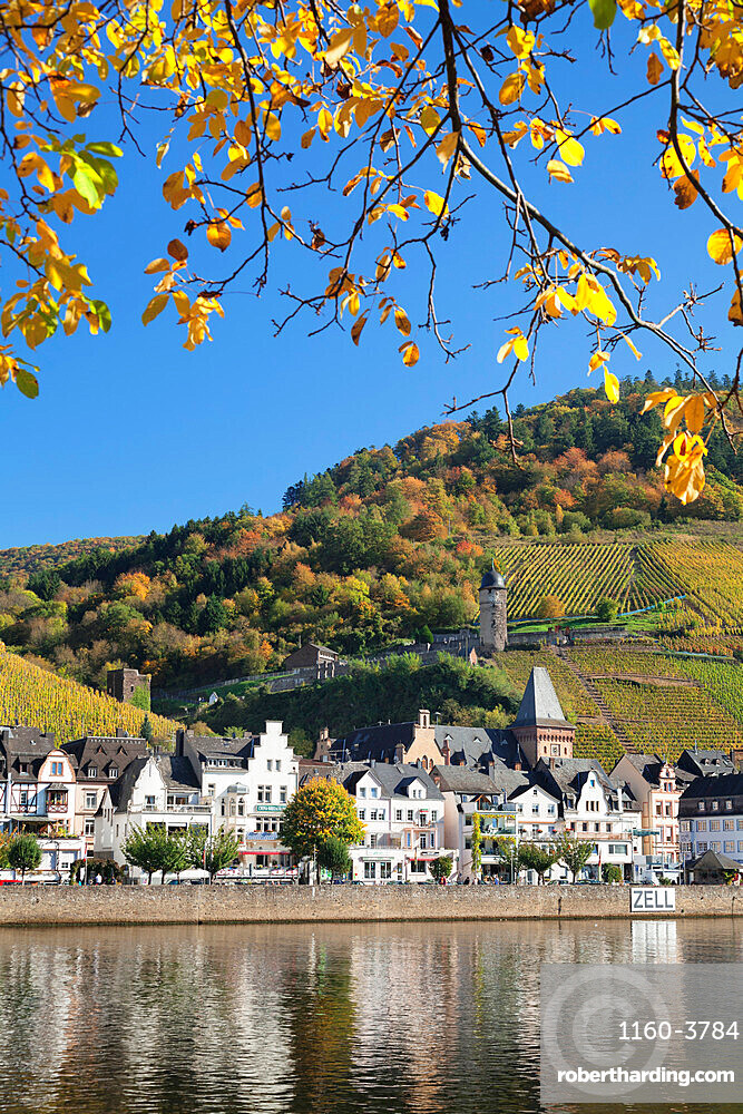 View over Moselle River to Zell and Runder Turm Tower, Rhineland-Palatinate, Germany, Europe