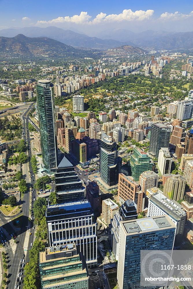 Sanhattan metropolis from Gran Torre Santiago, Costanera Center, South America's tallest, Las Condes, El Golf, Santiago, Chile, South America