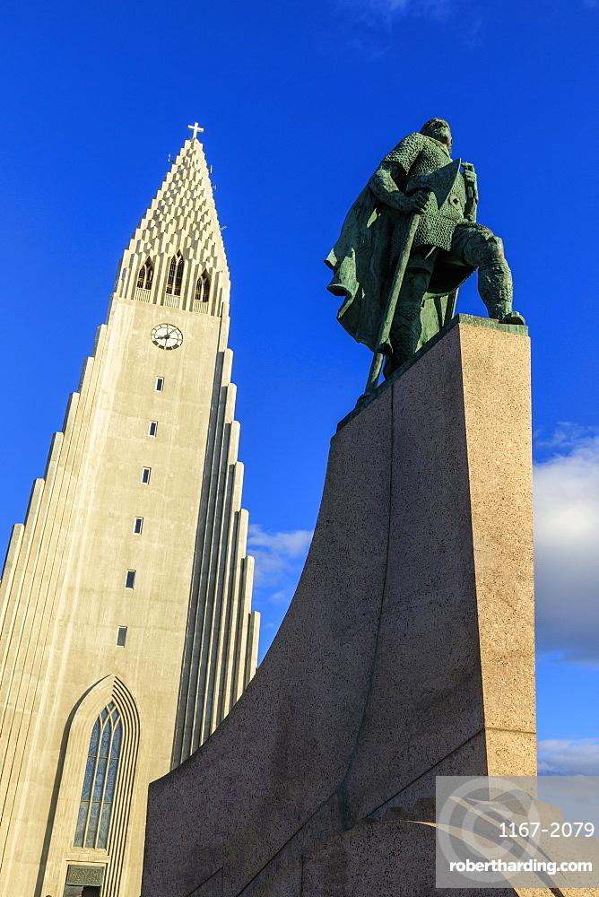 Statue of Leifur Eiriksson outside Hallgrimskirkja church in Reykjavic, Iceland, Europe