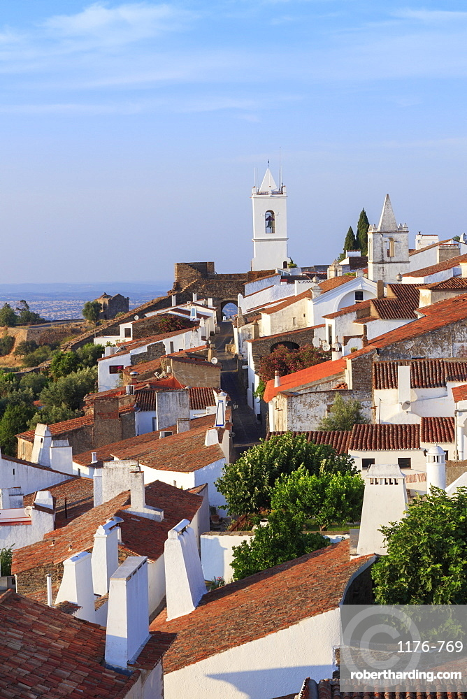View of the medieval fortified village of Monsaraz, Alentejo, Portugal, Europe