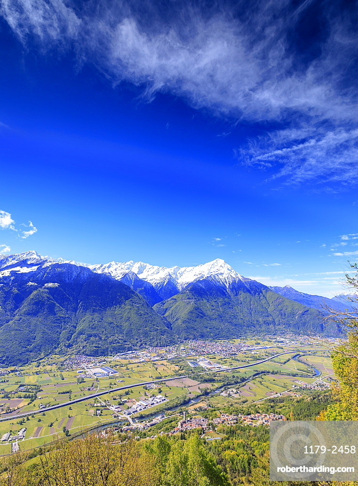 Snowy peaks of Rhaetian Alps in spring seen from Prati Nestrelli, Civo, province of Sondrio, Valtellina, Lombardy, Italy, Europe