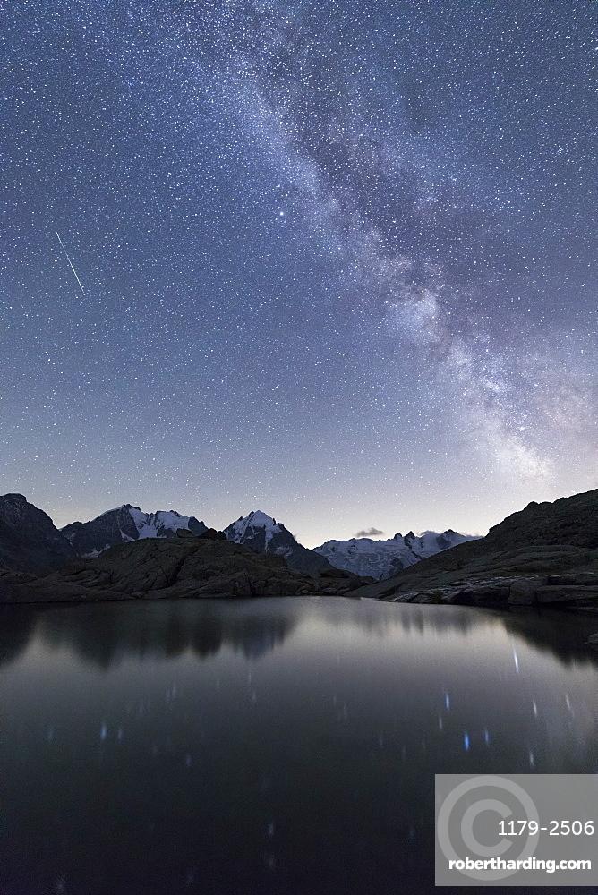 Milky Way on Piz Bernina, Fuorcla Surlej, Corvatsch, Engadine, Canton of Graubunden, Swiss Alps, Switzerland, Europe